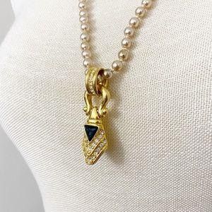 Nolan Miller Vintage Pearl Blue Pendant Necklace